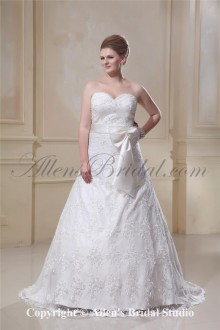 Sweetheart Satin Lace A-Line Plus Size Wedding Dress