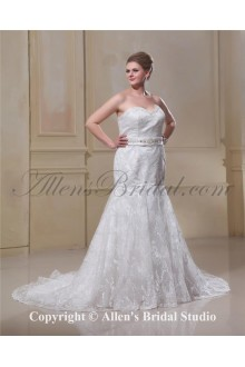 Lace Sweetheart Sweep Train Satin Trumpet Plus Size Wedding Dress