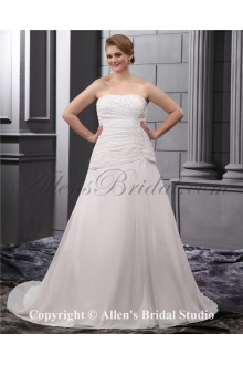 Embroiderd Court Train Satin Chiffon Ruffle Plus Size Wedding Dress