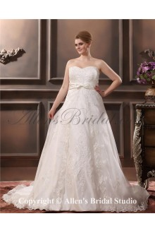 Satin Embroidered Sweetheart Plus Size Wedding Dress