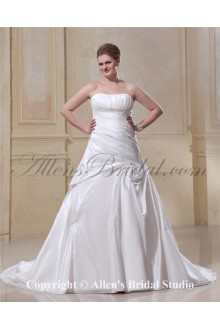 2013 Gorgeous Satin Strapless Chapel Train A-Line Bridal Plus Size Wedding Dress