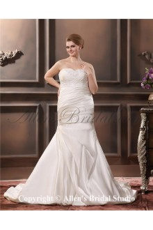 2013 Satin Sweetheart Embroidered Beading Mermaid Sweep Train Plus Size Wedding Dress
