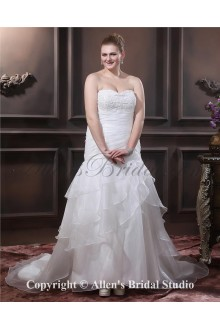 Sweetheart Chapel Train Organza Beading Pleat Plus Size Wedding Dress