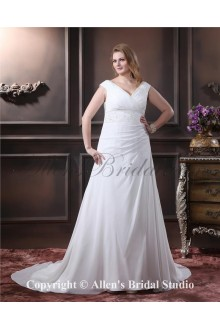 Chiffon Elegant Chapel Train V-Neck A-Line Plus Size Wedding Dress