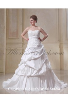 A-Line Chapel Train Taffeta Sweetheart Beading Plus Size Wedding Dress
