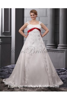 Elegant Lace Beading Embroidered Straps Floor Length Plus Size Wedding Dress