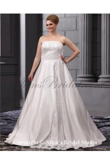 Lace Embroiderd Strapless Sweep Train Satin A-Line Plus Size Wedding Dress