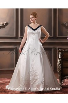 Embroiderd Satin Sweep Train Sleeveless V-Neck A-Line Plus Size Wedding Dress