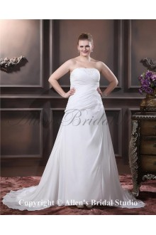 Chiffon Satin Strapless Sweep Train Beading A-Line Plus Size Wedding Dress