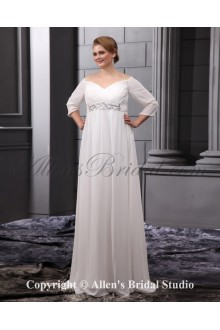 Chiffon Fashionable Sequins Off-the-Shoulder Floor Length Plus Size Wedding Dress