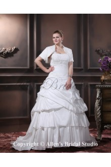 Beautiful Layered Ruffle One Shoulder Court Train Plus Size Wedding Dress