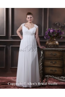 V-Neck Elegant Chiffon Satin Floor-length Plus Size Wedding Dress