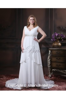 Chiffon Crystals V-Neck Chapel Train Plus Size Wedding Dress