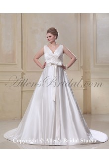 Beautiful V-Neck Sash Ruffle Court Train Plus Size Wedding Dress