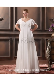 Elegant V-Neck Sweep Train Plus Size Wedding Dress