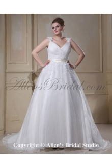 Yarn V-Neck Court Train Beading Plus Size Wedding Dress