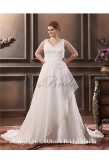 Elegant Sleeveless Sweep Train A-Line V-Neck Plus Size Wedding Dress