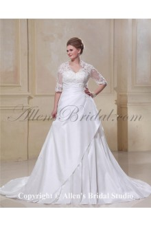 Fashionable Taffeta Lace Beading V-Neck Plus Size Wedding Dress