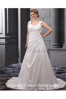 Elegant Sequins Ruffle Straps Court Train Plus Size Wedding Dress