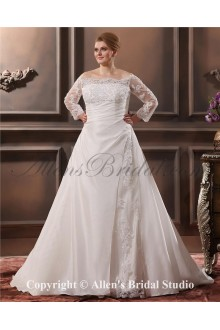 Beautiful Lace Sweep Train Taffeta Off-The-Shoulder Plus Size Wedding Dress