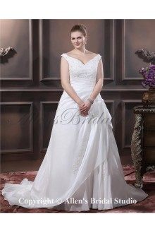 Elegant V-Neck Taffeta Beading Embroidered Court Train Plus Size Bridal Gown Wedding Dress