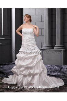 Elegant Embroidered Court Train Bridal Gown Plus Size Wedding Dress