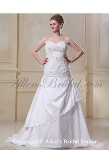 Sweetheart Satin Organza Ruffle Beading Court Train Plus Size Bridal Gown Wedding Dress