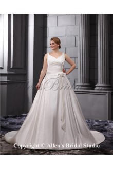 Satin V-Neck Sweep Train A-Line Plus Size Wedding Dress