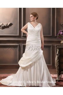 Elegant Satin Embroidered Chapel Train V-Neck Plus Size Wedding Dress