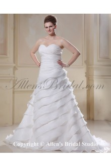 Sweetheart Chiffon Ruched Sweep Train A-Line Plus Size Wedding Dress