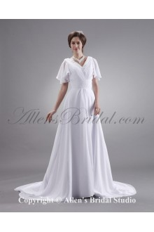Ruffle V-Neck Short Sleeve Court Train Plus Size Bridal Gown Wedding Dress