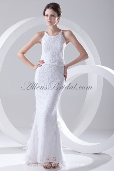 Lace Jewel Neckline Sheath Floor Length Feather Prom Dress