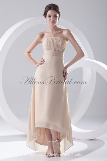 Chiffon Strapless A-Line Ankle-Length Prom Dress
