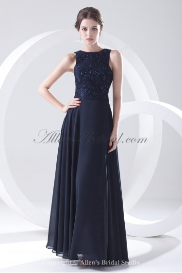 Chiffon Bateau Neckline A-Line Floor Length Sequins Prom Dress