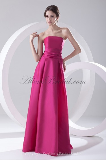 Taffeta Strapless A-Line Floor Length Prom Dress