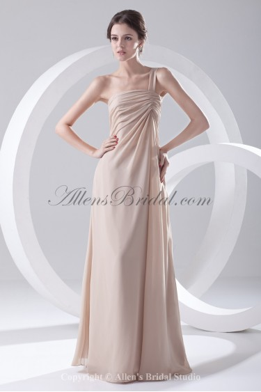 Chiffon One-shoulder Neckline Column Floor Length Prom Dress