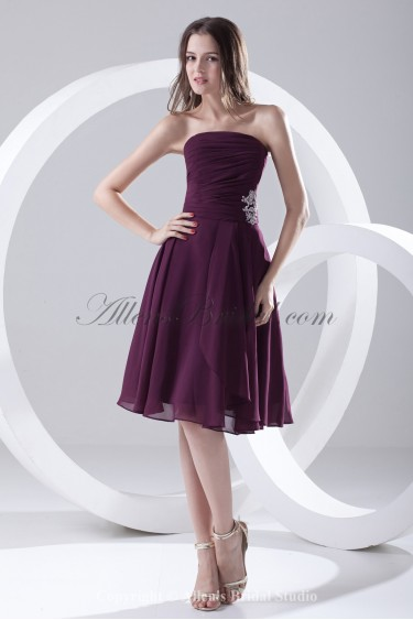 Taffeta Strapless A-Line Knee-Length Embroidered Cocktail Dress