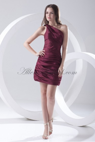 Satin One-Shoulder Short Sheath Cocktail Dress with Crisscross Ruched