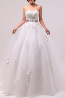 Net and Satin Strapless Ball Gown with Crystal