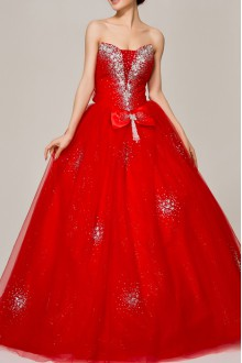 Net and Satin Straps Neckline Ball Gown with Crystal