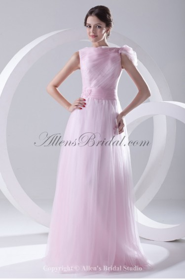 Satin and Net Bateau Neckline A-line Floor-Length Embroidered Prom Dress