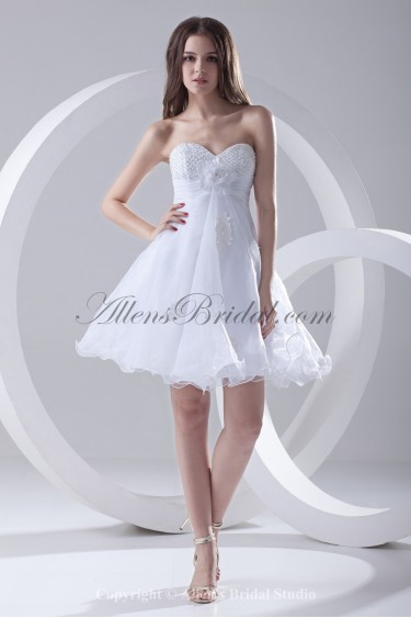 Organza Sweetheart A-Line Short Beading and Flower Cocktail Dress