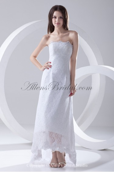Lace Strapless Neckline Column Ankle-Length Prom Dress