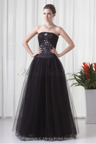 Net And Satin Strapless Neckline Ball Gown Floor-Length Sequins Prom Dress
