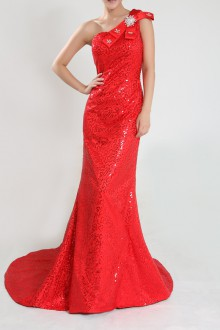 Tulle Jewel Neckline Floor Length Ball Gown with Sequins