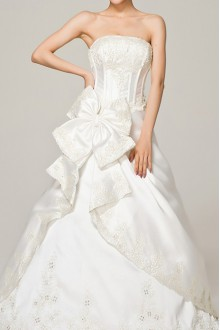 Satin V-neck Ball Gown Dress with Crystal