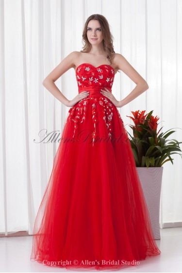Net and Satin Sweetheart A-line Floor-Length Crystals Prom Dress