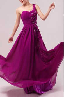 Net One Shoulder Floor Length Ball Gown Dress with Handmade Flowers
