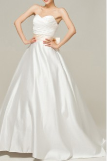 Satin Strapless Ball Gown Dress with Pearls