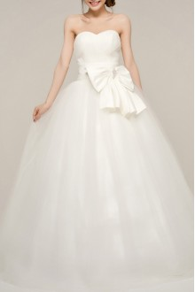 Net Strapless Ball Gown Dress with Pearls